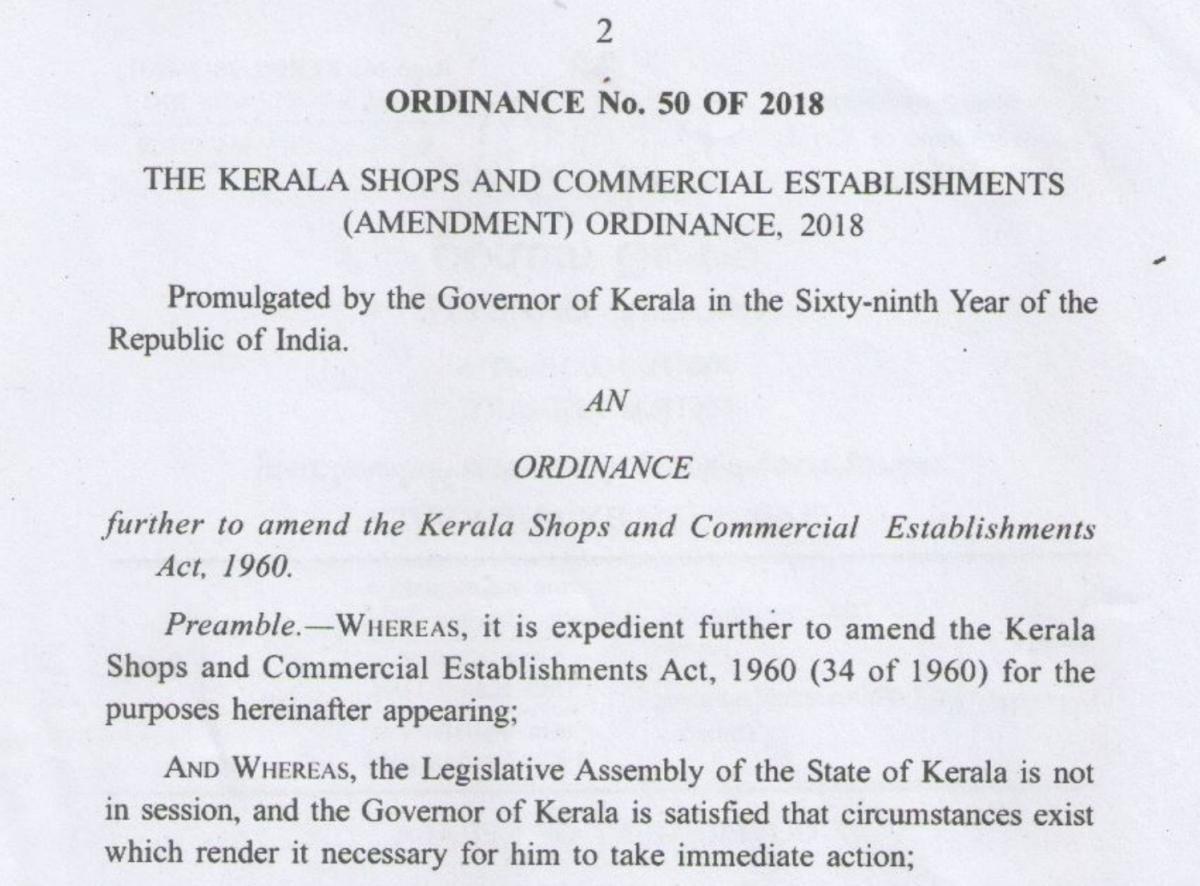 Ordinance to make functioning easier: Kerala Shops and Commercial Establishments (Amendment) Ordinance, 2018